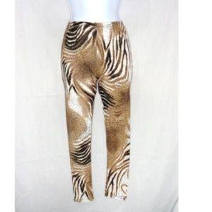 Pants - BEIGE & BROWN ANIMAL PRINT YOGA PANTS LEGGINGS L